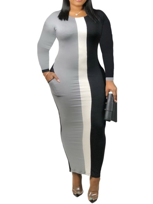 Ankle-Length Long Sleeve Patchwork Round Neck Pullover Women's Bodycon Dress