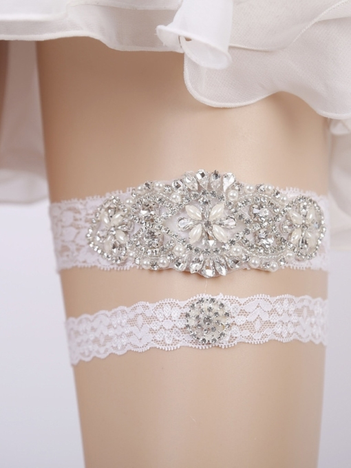 Diamond Pearls Floral Lace Wedding Garters