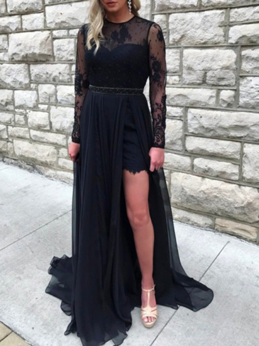 Open Back Long Sleeves Lace Prom Dress