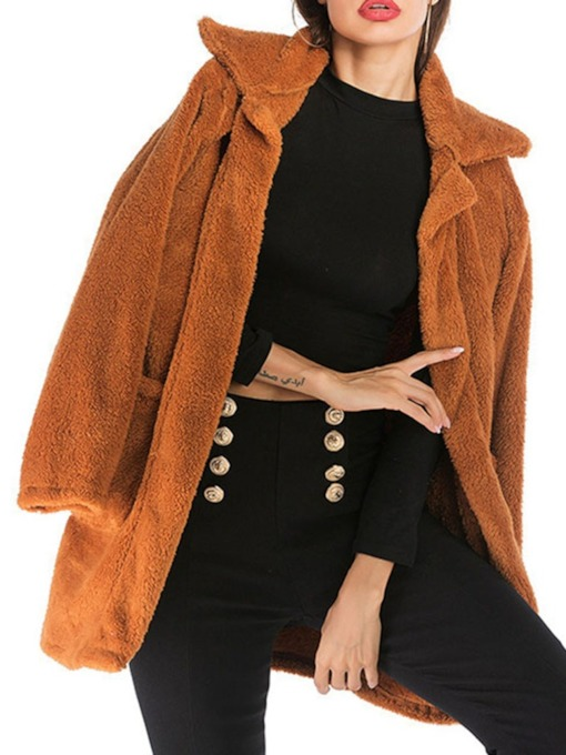 Regular Loose Lapel Women's Overcoat
