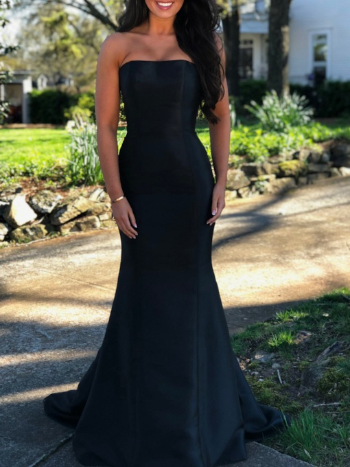 Simple Mermaid Strapless Black Evening Dress 2019