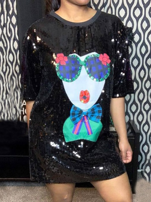 Print Round Neck Above Knee Half Sleeve Cartoon Women's Dress