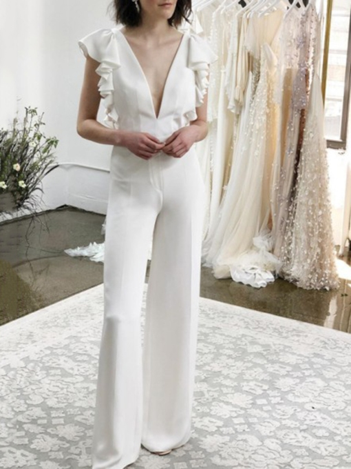 Sheath Ruffles Cap Sleeves Wedding Jumpsuits 2019