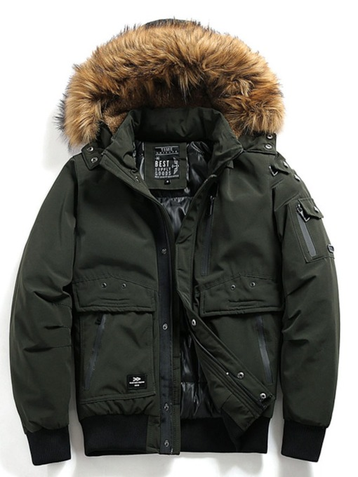 Patchwork Hooded Standard Color Block Zipper Men's Down Jacket