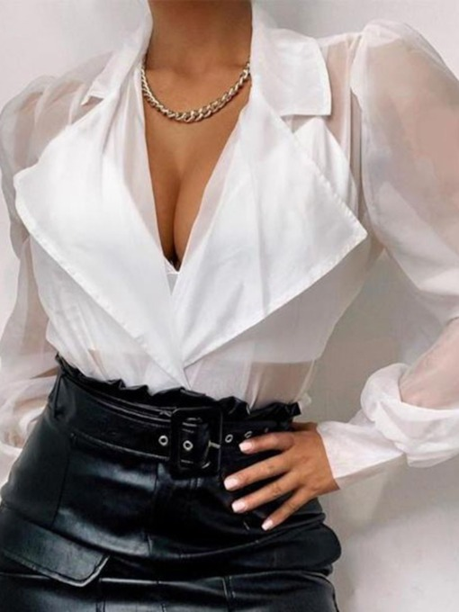 Plain See-Through Puff Sleeve Notched Lapel Standard Women's Blouse