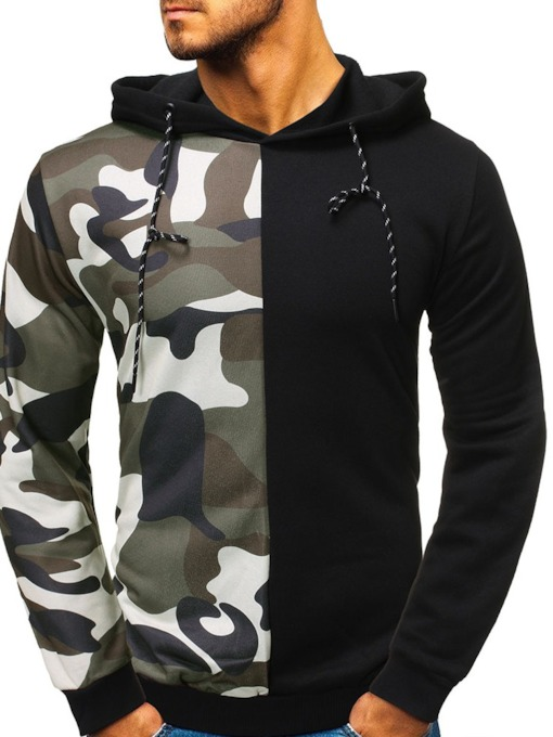Patchwork Pullover Camouflage Casual Men's Hoodies