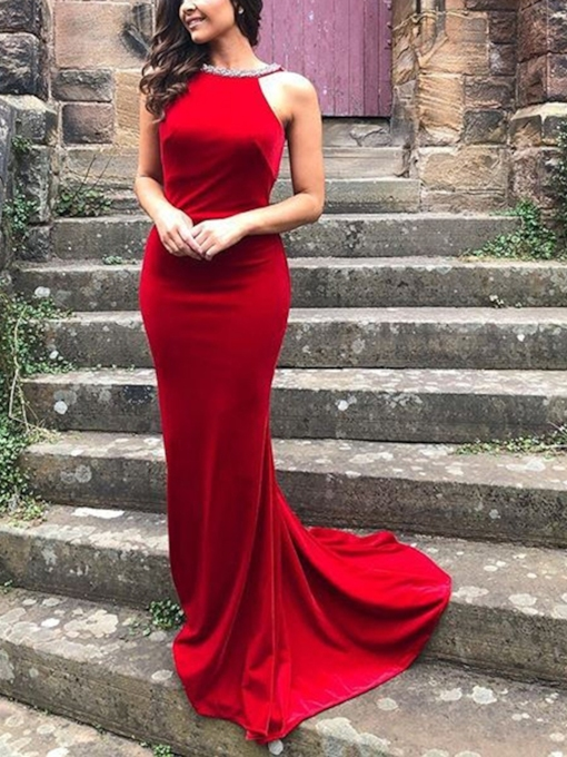 Mermaid Beading Straps Backless Prom Dress 2019