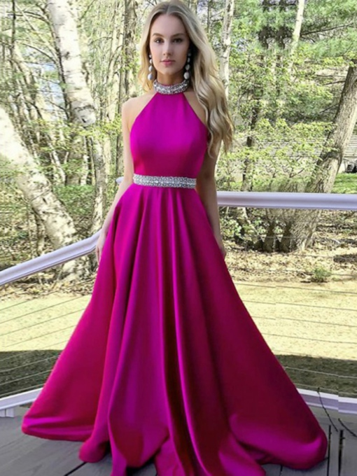 Halter Beading A-Line Prom Dress 2019