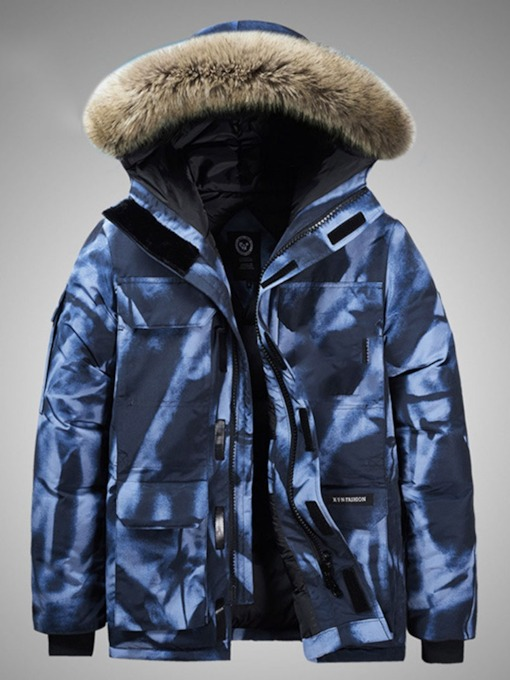 Hooded Color Block Mid-Length Zipper Men's Down Jacket