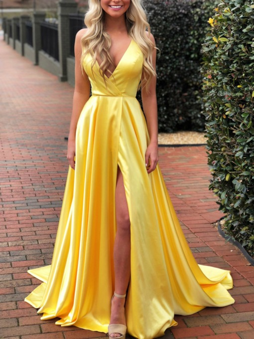 V-Neck A-Line Split-Front Prom Dress 2019