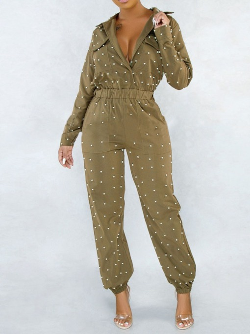 Casual Full Length Bead Slim Women's Jumpsuit