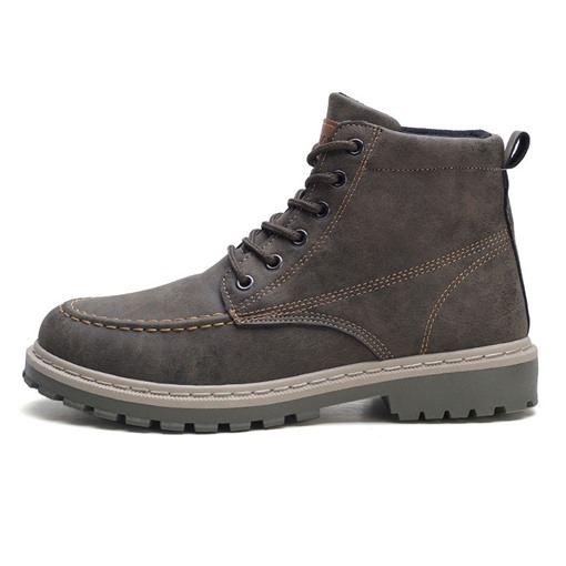 Round Toe Lace-Up Front Color Block Chic Men's Martin Boots