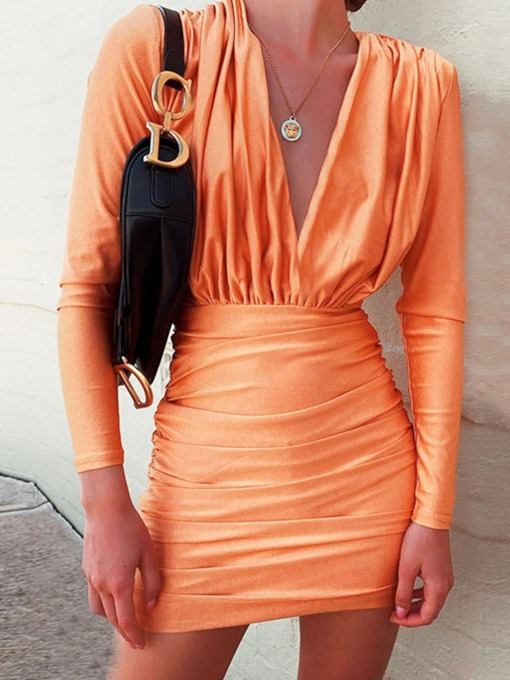 Above Knee V-Neck Long Sleeve Pleated Mid Waist Women's Bodycon Dress