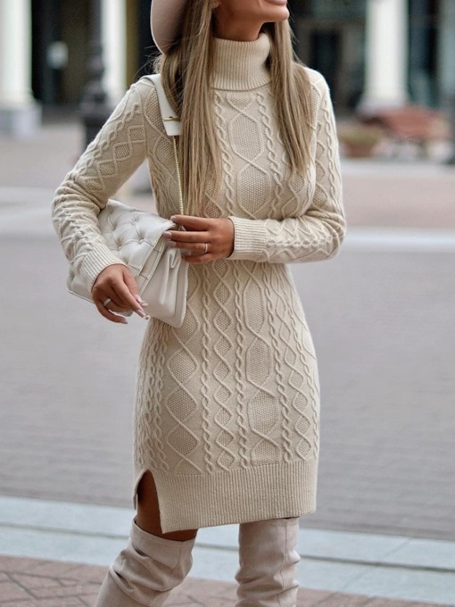 Turtleneck Above Knee Long Sleeve Plain Women's Sweater Dress