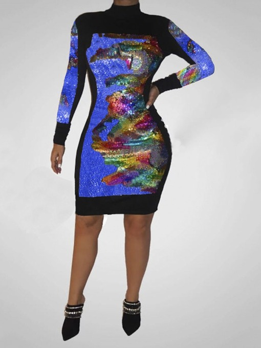 Long Sleeve Knee-Length Sequins Stand Collar Color Block Women's Dress