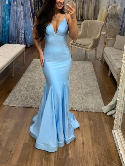 Spaghetti Straps Mermaid Sky Blue Prom Dress 2019