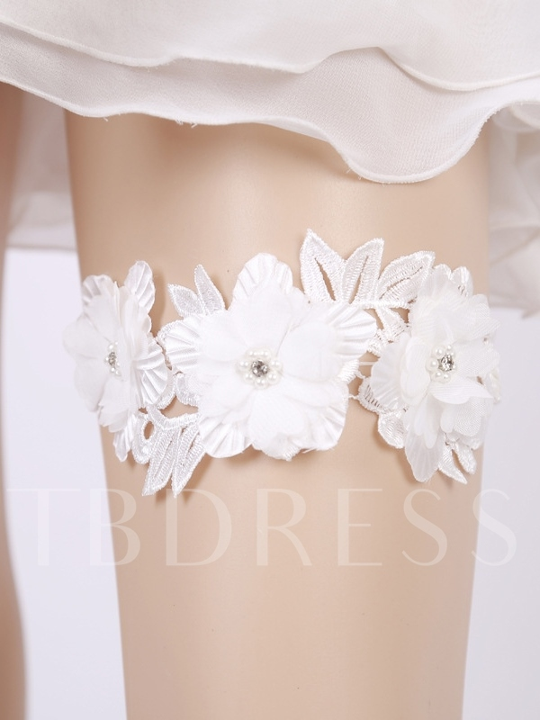 Floral Beading Lace Wedding Garters