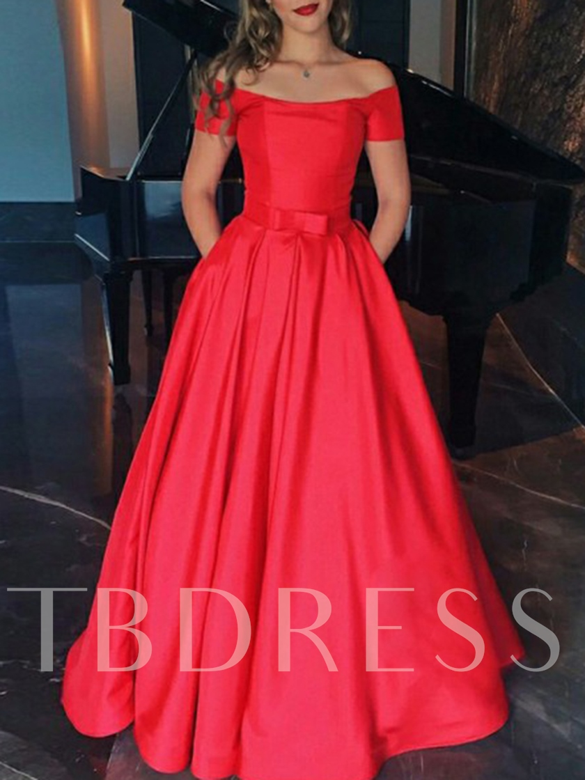 Off-The-Shoulder Short Sleeves Pockets Prom Dress 2019