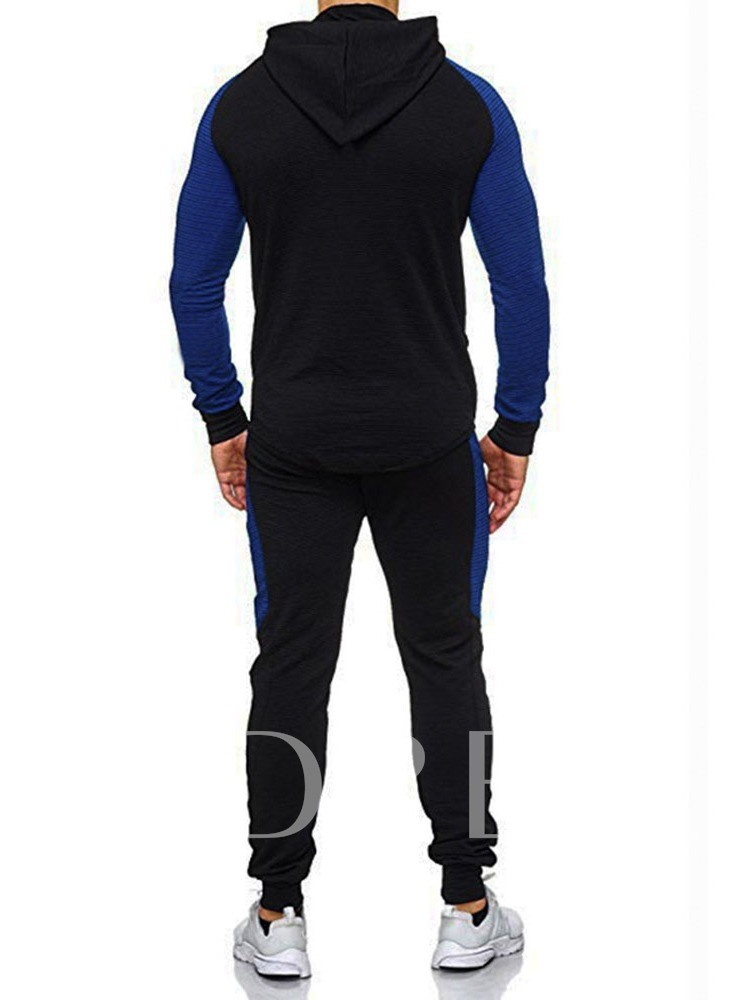 Color Block Casual Patchwork Hoodie Men's Outfit