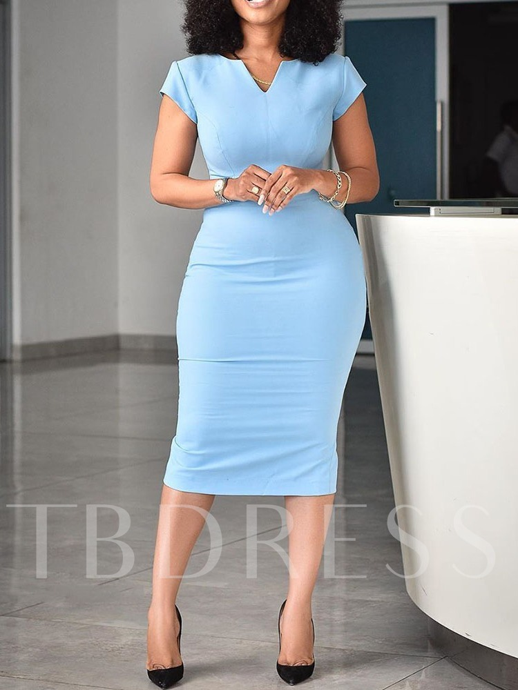 Short Sleeve V-Neck Mid-Calf Bodycon Women's Dress