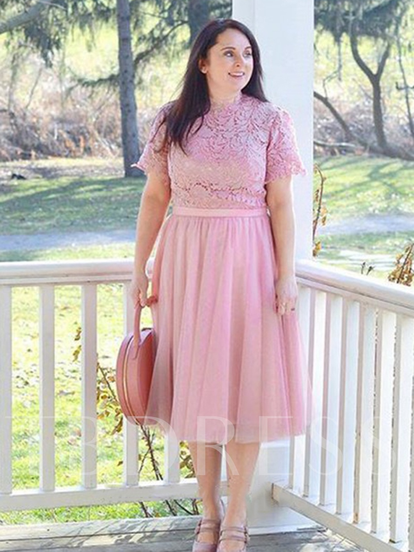 Knee-Length Short Sleeves Lace Mother of the Bride Dress 2019