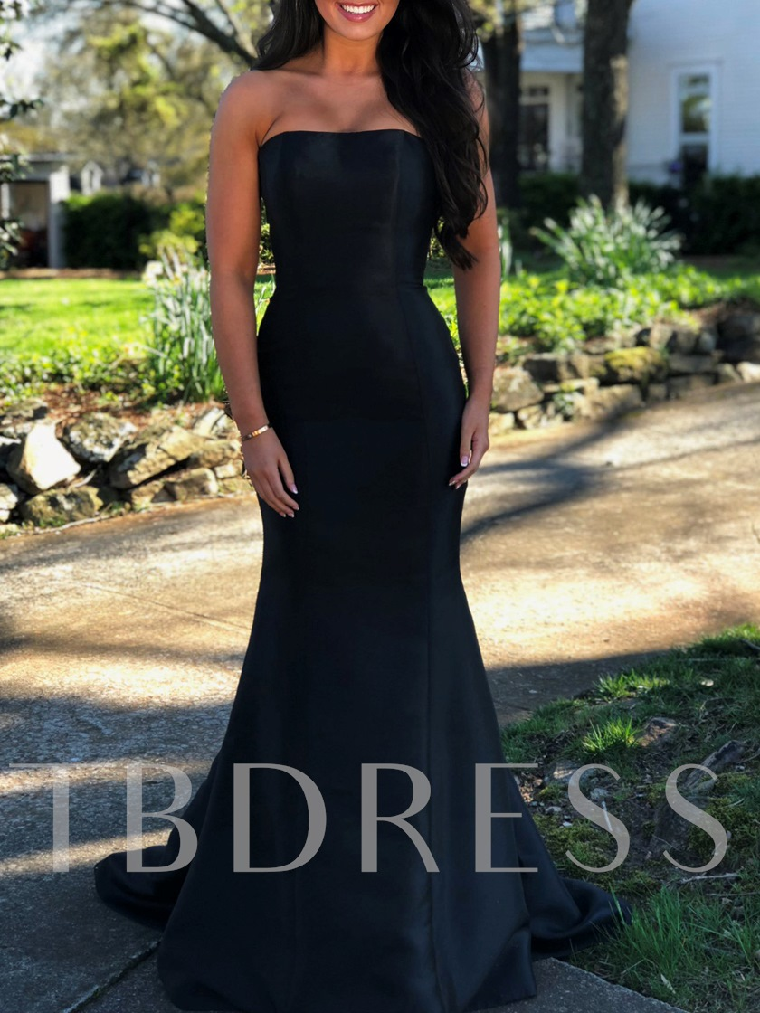 Simple Mermaid Strapless Black Evening Dress