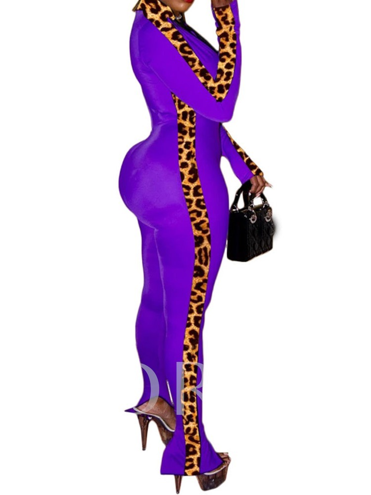 Sexy Full Length Leopard Skinny Women's Jumpsuit