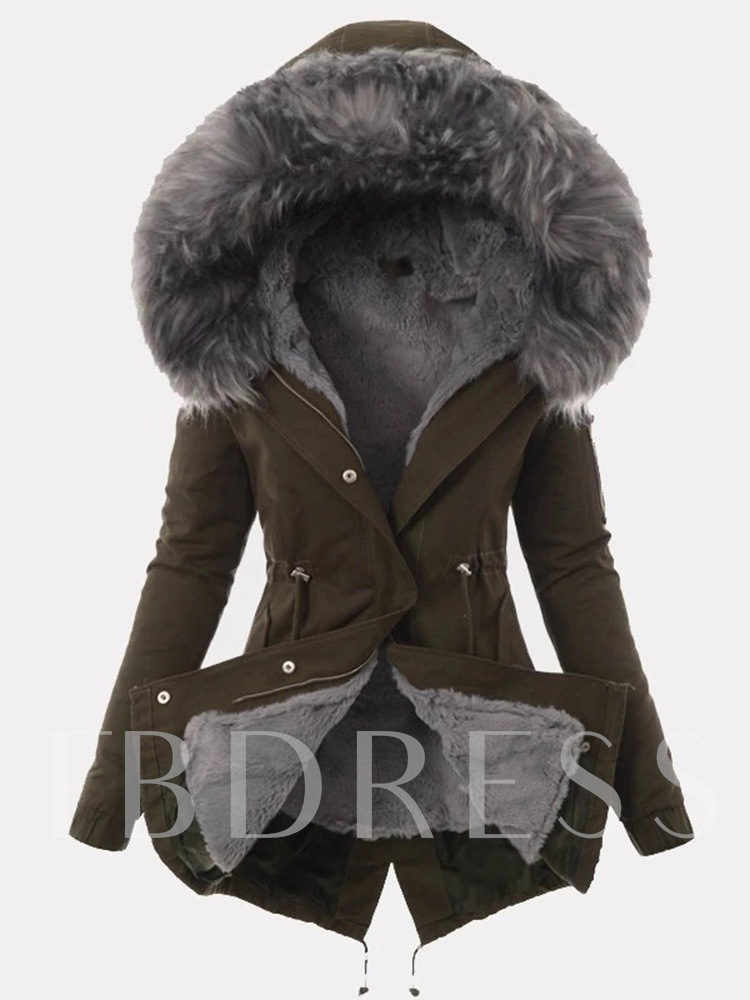 Regular Hidden Button Slim Mid-Length Women's Overcoat