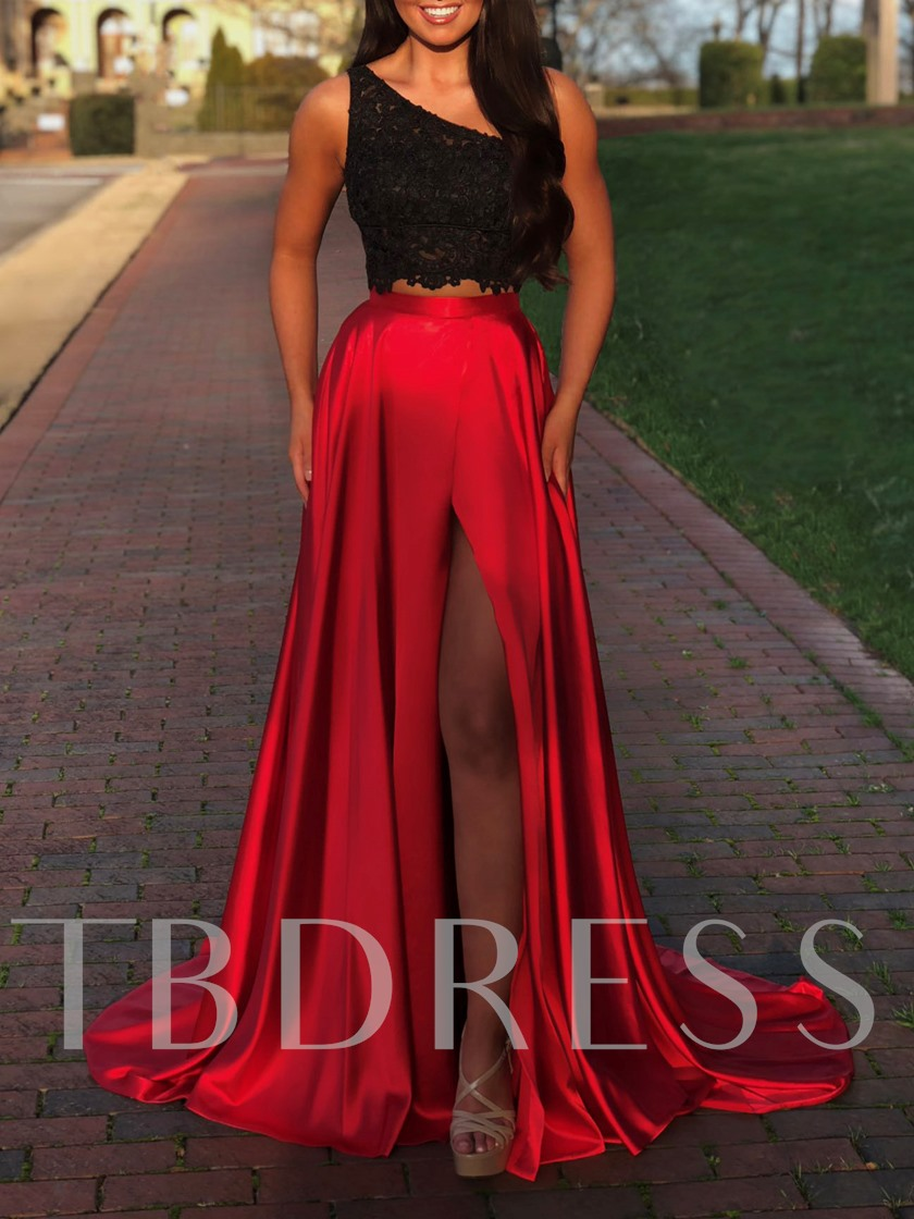 Two Pieces One Shoulder Lace Prom Dress 2019