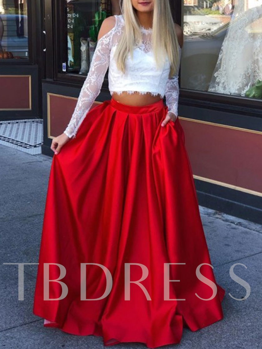 Two Pieces Long Sleeves Pockets Red Prom Dress 2019