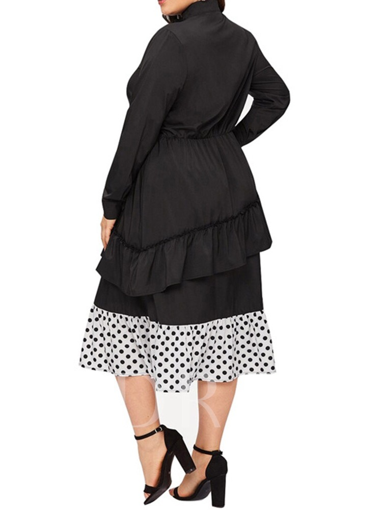 Plus Size Long Sleeve Pleated Stand Collar Mid-Calf Pullover Women's Dress