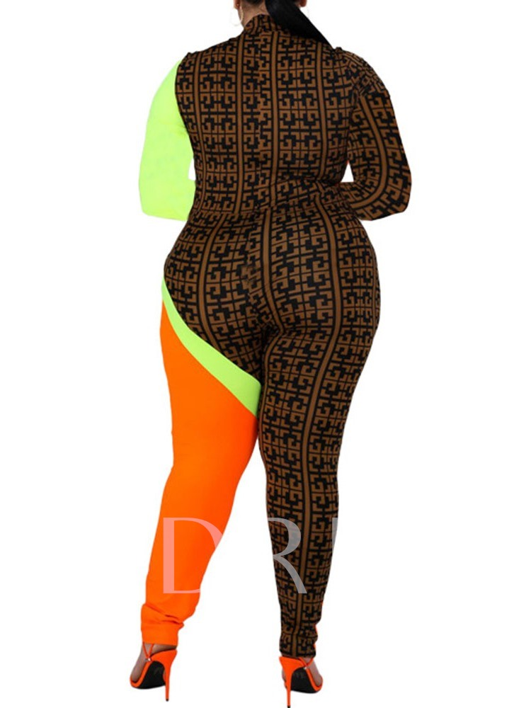 Plus Size Casual Color Block Full Length Skinny Women's Jumpsuit