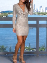 Long Sleeve V-Neck Above Knee Sequins Regular Women's Dress