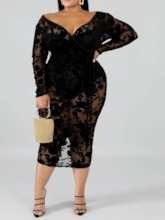 Plus Size V-Neck Lace Mid-Calf Long Sleeve Regular Women's Dress
