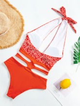 Sexy Color Block Lace-Up One Piece Women's Swimwear
