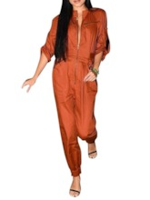 Plain Zipper Ankle Length Mid Waist Women's Jumpsuit