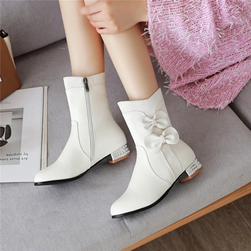 Side Zipper Color Block Round Toe Bow Ankle Boots