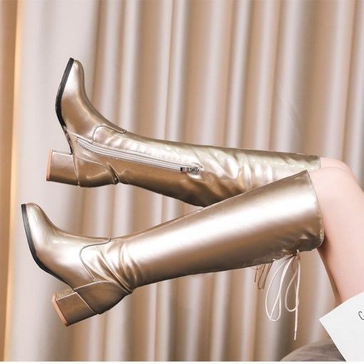 Metallic Round Toe Lace-Up Back Chunky Heel Knee High Boots