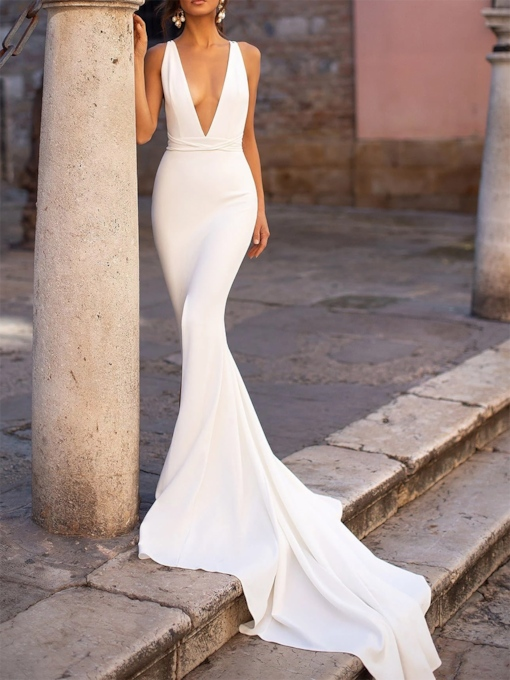 Sexy Deep V-Neck Mermaid White Evening Dress 2019