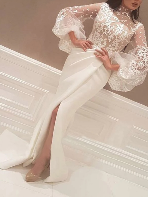 Long Sleeves Split-Front High Neck Vintage Evening Dress 2019