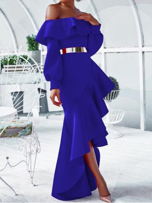 Asymmetric Floor-Length Long Sleeve Off Shoulder Lantern Sleeve Women's Dress