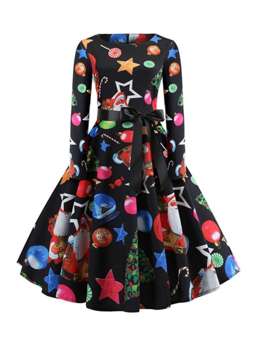 Christmas Decorations Long Sleeve Round Neck Print Mid-Calf Fall Women's Dress