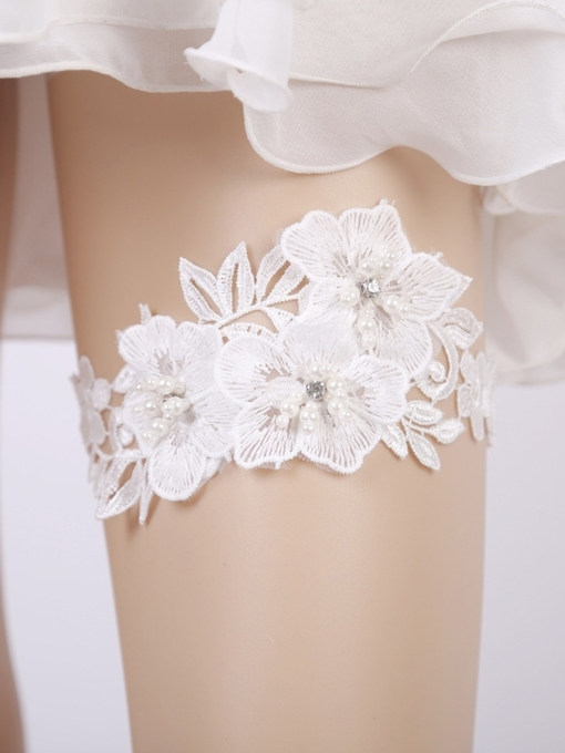Bead Floral Lace Wedding Garters