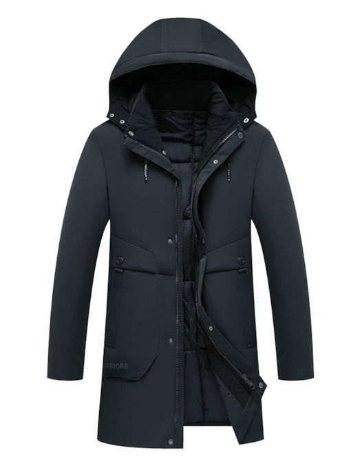 Mid-Length Hooded Casual Men's Down Jacket