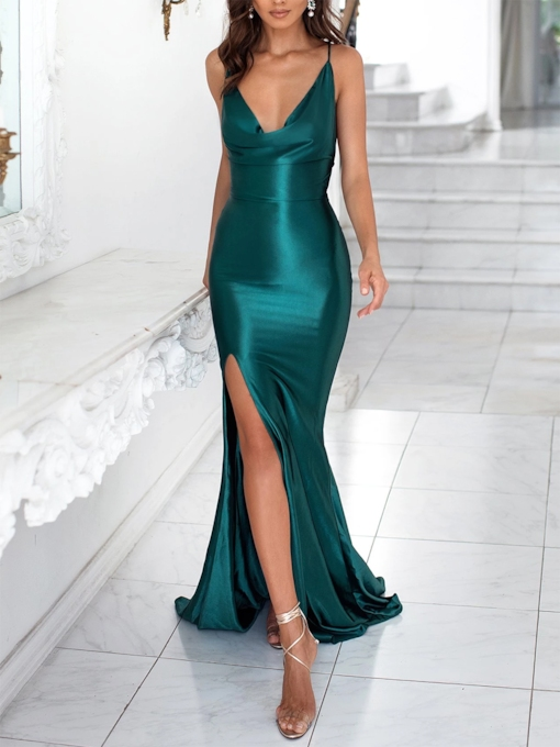 Spaghetti Straps Split-Front Mermaid Celebrity Dress 2019