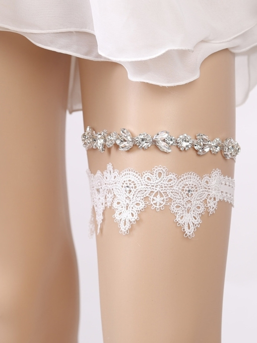 Shiny Diamond Floral Lace Wedding Garters