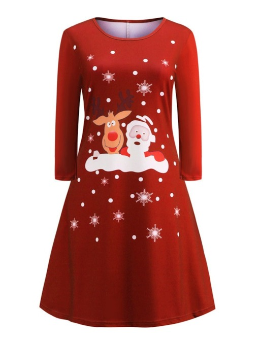 Christmas Decoration Round Neck Long Sleeve Knee-Length Print Winter Women's Dress