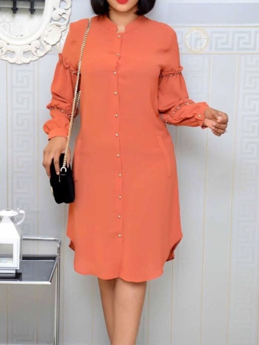 Bead Mid-Calf Long Sleeve Stand Collar Fall Women's Dress