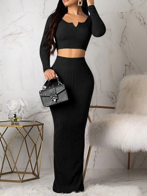 Casual Plain Simple Round Neck Women's Two Piece Sets
