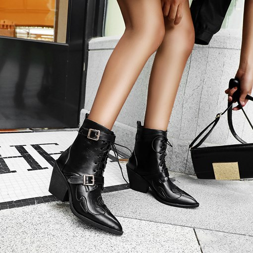 Lace-Up Front Plain Pointed Toe Women's Martin Boots